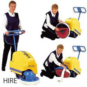 Challenger Zippy 430 Battery Burnisher. Floor polisher hire puts a high shine on vinyl, wood and other sealed hard floors