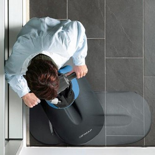 The Fimap Genie B battery pedestrian scrubber dryer cleanes right into the corners