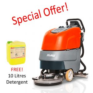 Hako Scrubmaster B30 battery scrubber dryer. Special offer includes 10 litres of free heavy duty scrubber dryer detergent.