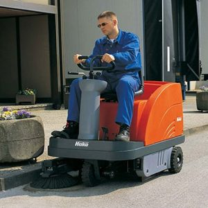 Hako Jonas 900V Petrol ride-on sweeper hire. Outdoor street sweeper for parks and paths for hire