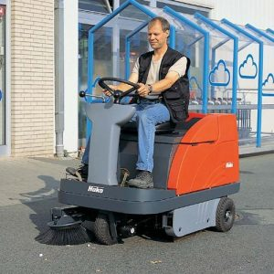 Hako Jonas 980E Battery ride-on sweeper hire. Indoor and outdoor sweeper for parks, paths, warehouses, shopping centres etc. A good all round sweeper rental.
