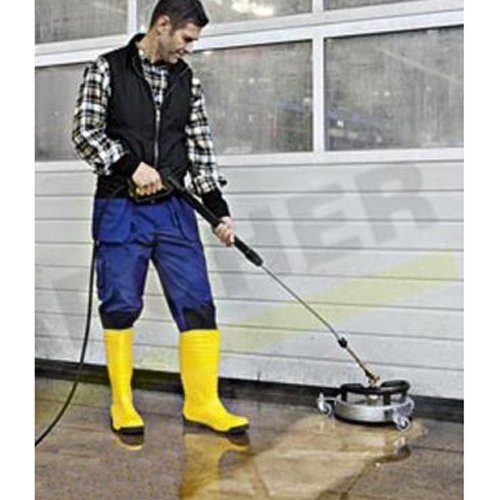 Karcher FR30 ME Stainless Steel Commercial Hard Surface Cleaner Attachment, attaches to the end of the lance for splash free wall and floor hard surfaces cleaning. Complete With Hose & Lance. For walls and floors, cleans up to 10 times faster than the standard nozzle without splashing. FR 30 ME high-quality, hot water resistant surface cleaner with stainless steel casing with a working width of 300 mm, ideal for indoor cleaning, e.g. food industry. Features include double ceramic bearings, non-marking swivel castors and integrated suction hose connection for removing spray water.