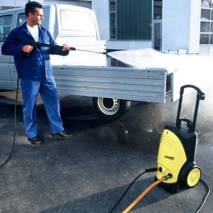 Karcher HD5/12C Cold water pressure washer hire. A lightweight cold water high-pressure cleaner available for rent. Compact & versatile jet wash hire for fast and thorough cleaning in many applications such as car washing, patio cleaning, decking, garden furniture etc. Rent a jet wash today.