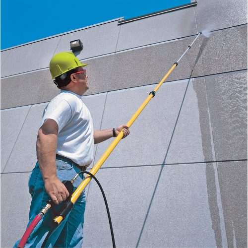 Karcher telescopic extension lance for use with all our Karcher pressure washer range - For high cleaning such as walls and suffix's etc. Complete With Hose & Lance. A telescopic long reach lance extends from 1.8m to 5.4m to reach high up and hard to reach places such as windows, facets, roofs, conservatories, walls, buildings etc.