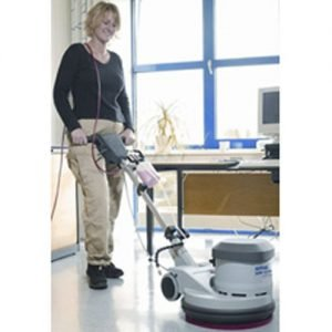 The Nilfisk SDM43-Duo Floor buffer/scrubber is a versatile floor polishing machine as well as a floor scrubbing machine. It can be switched from a scrubber to a buffer by the flick of a switch. The dual speed capability means it can be used to wash, clean, polish and shine most floor surfaces including rubber cork parquet epoxy pavements bamboo patios driveways brick paved paving marble wooden floors hardwood laminate tiles concrete terrazzo stone lino linoleum vinyl oak ceramic slate dance floors streets paths etc.