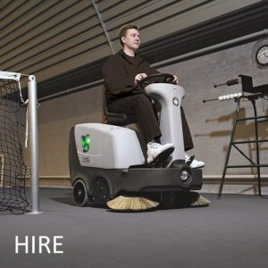 Nilfisk SR1000S battery ride-on hire sweeper. Hard floor and carpet and warehouse sweeper hire