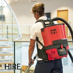 Numatic RSB 140 battery back pack vacuum cleaner hire. A light weight and portable lithium battery back pack vacuum cleaner with exceptional cleaning performance in all the hard to reach places such as climbing ladders, stairways, congested areas, busy pedestrian zones, cleaning aircraft, busses, even cinemas. If you need to hire a vacuum cleaner without a cable, this one is the best.