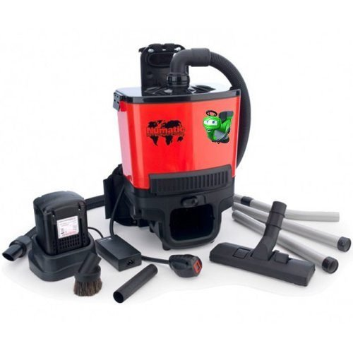 Numatic RSB 140 battery back pack vacuum cleaner available to hire or buy from Cleaning Equipment Services Ltd . A light weight and portable lithium battery back pack vacuum cleaner with exceptional cleaning performance in all the hard to reach places such as climbing ladders, stairways, congested areas, busy pedestrian zones, cleaning aircraft, busses, even cinemas. If you need to hire or buy a battery vacuum cleaner without a cable, this one is the best.