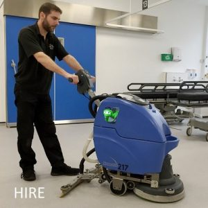 Numatic TT3450 & TTB3450 battery walk behind scrubber dryer hire hospital cleaning machine