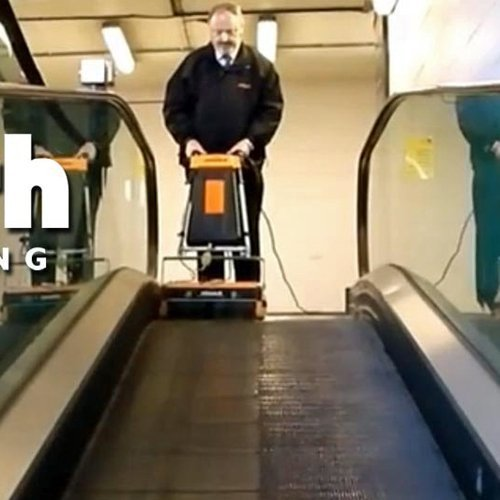 Rotowash Escalator and Travelator cleaning machine hire deep cleans the surfaces of the escalators and travelators. This machine washes and dries the escalator in a single pass. Suitable for shopping centres, fitness centres, shopping malls, airports, in fact anywhere that escalator cleaner hire or travelator cleaner hire is required