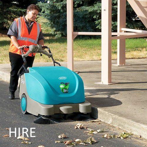 Tennant S9 battery walk behind pedestrian hard floor and carpet sweeper hire