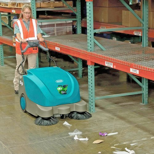 Tennant S9 electric battery walk behind pedestrian hard floor and carpet sweeper