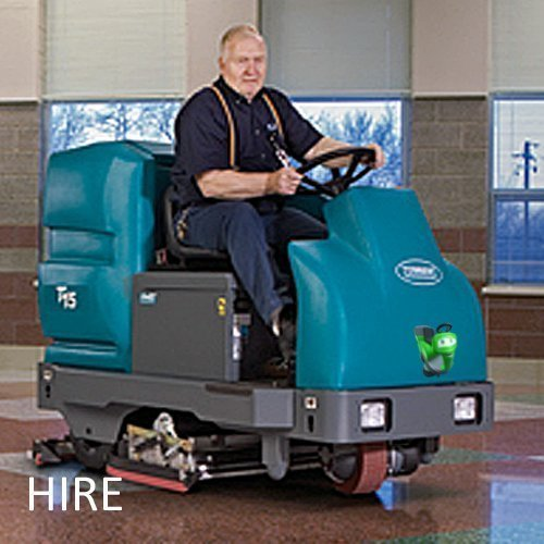 Tennant T15 hire ride on scrubber dryer cleaning machine