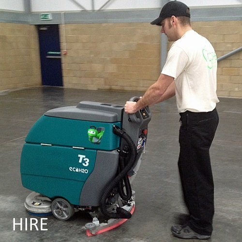 Tennant T3 battery walk behind scrubber dryer hire warehouse cleaning machine