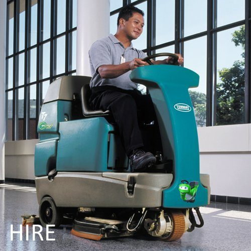 Tennant T7 hire battery ride-on scrubber dryer airport cleaning machine