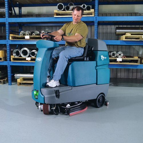 Tennant T7 battery ride-on scrubber dryer warehouse floor cleaning machine rental